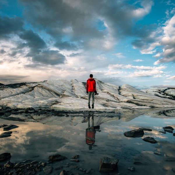 man alone on island